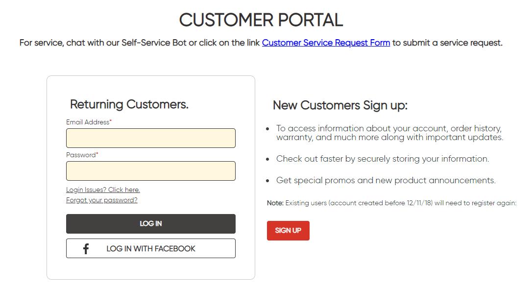 Customer portal login screen shot