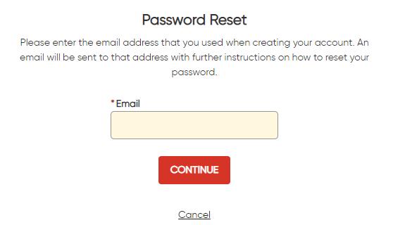 Customer portal password reset screen shot