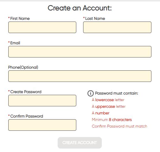 Customer portal create account screen shot