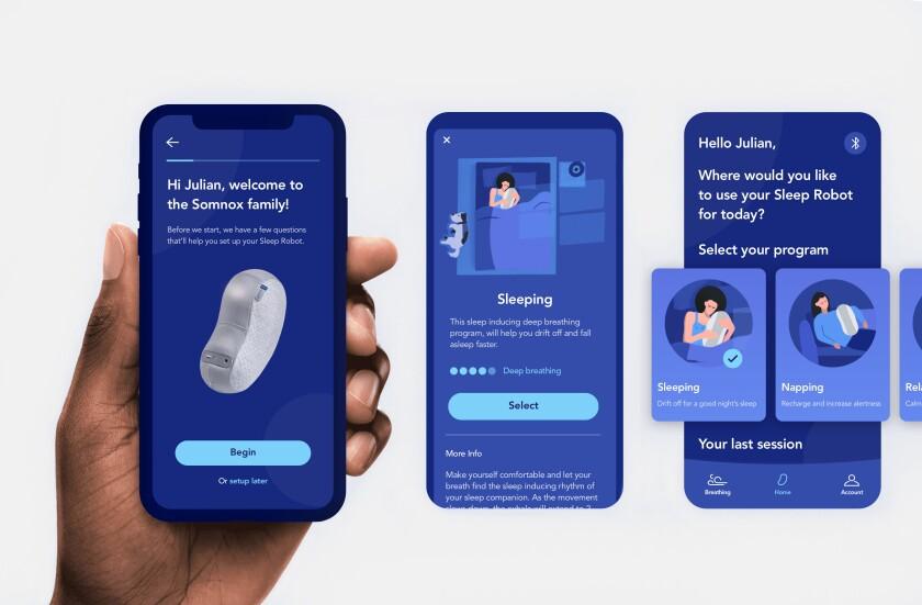 Sample screens from the Somnox Sleep Robot app