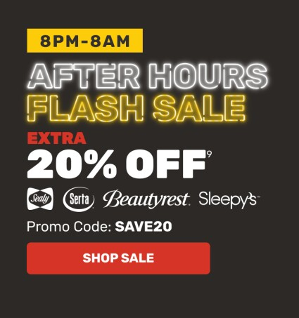 After Hours Flash Sale Hero - Extra 20% OFF - Promo Code: SAVE20
