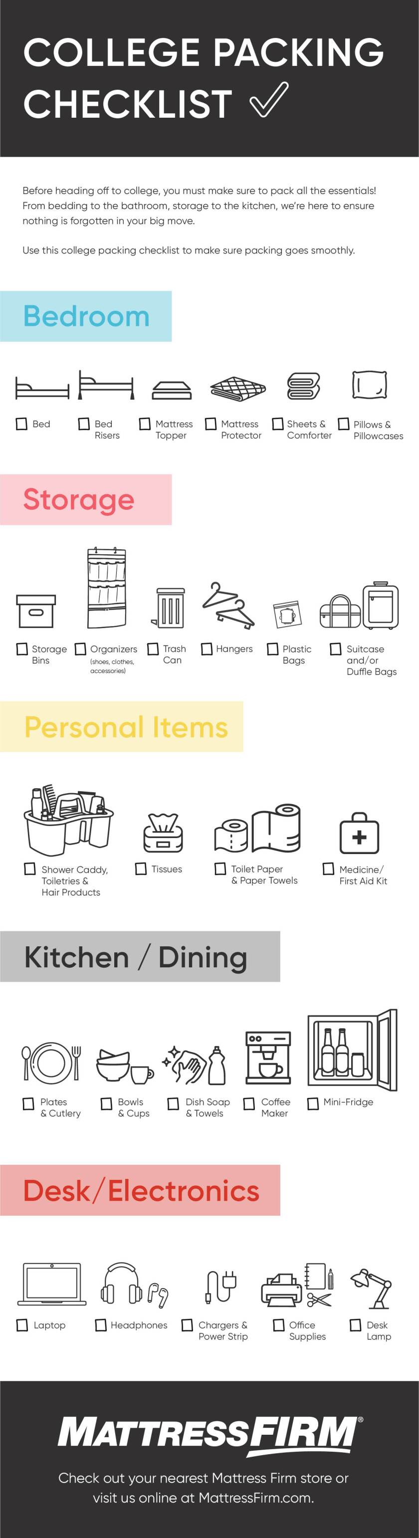 Back to School College Dorm Room Packing Checklist Infographic